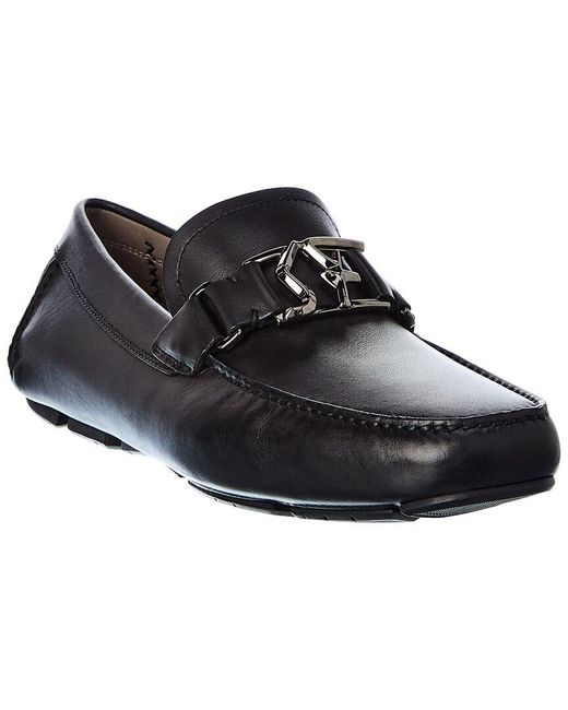 Ferragamo Black Logo Leather Loafer for men