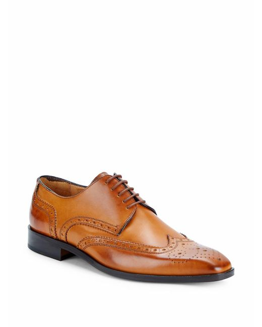 Saks Fifth Avenue - Brown Brogued Wingtip Derby Shoes for Men - Lyst