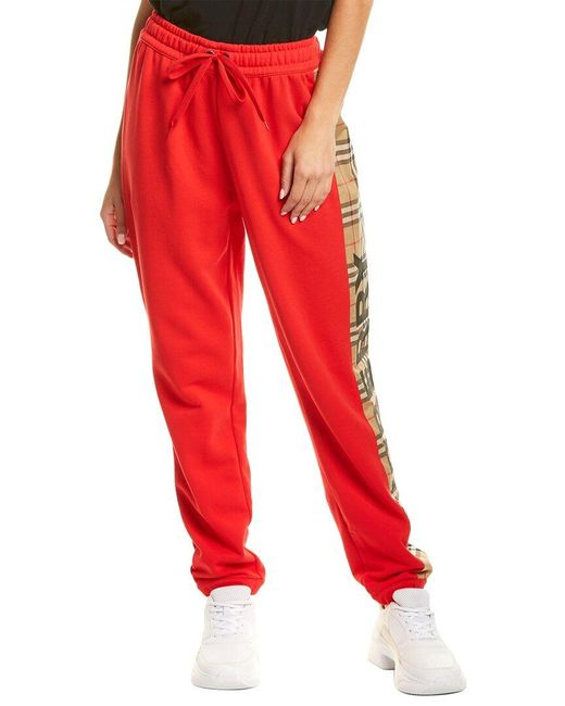 Burberry Red Vintage Check Panel Jogger Pant