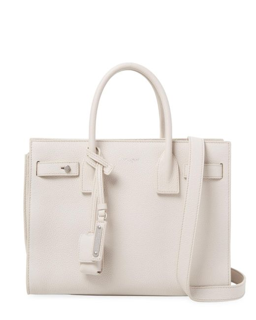Saint Laurent - White Small Leather Tote - Lyst