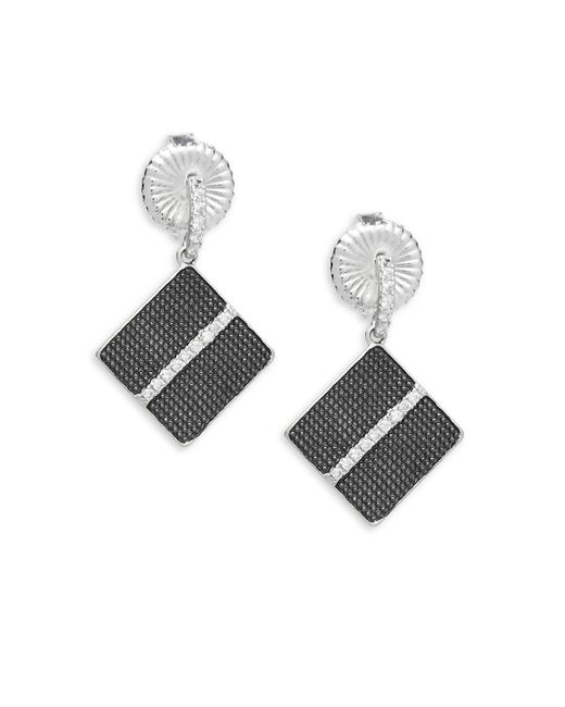 Freida Rothman - Metallic Contemporary Deco Square Crystal And Sterling Silver Drop Earrings - Lyst