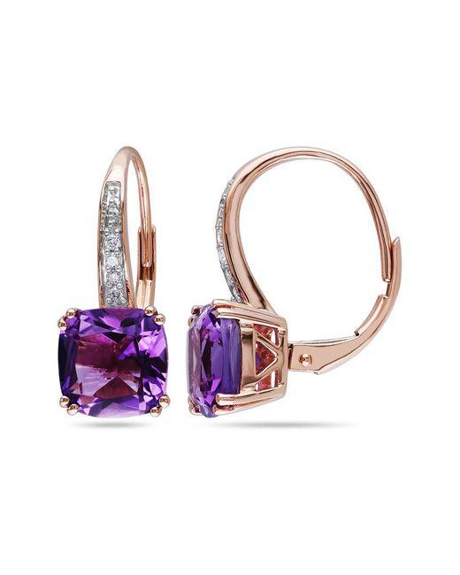 Rina Limor Metallic 10k Rose Gold 3.56 Ct. Tw. Diamond & Amethyst Earrings