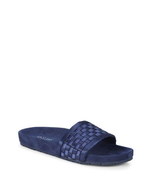 J/Slides - Blue Weave Satin Slides - Lyst