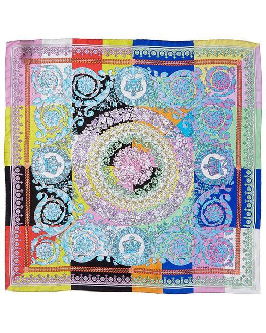 Versace Blue Bloom Print Silk Scarf