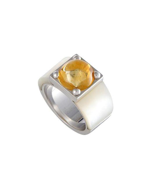 Van Cleef & Arpels Vintage Metallic Van Cleef & Arpels 18k Citrine & Mother-of-pearl Ring