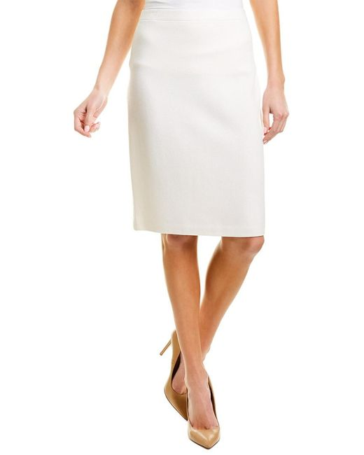 St. John White Wool-blend Pencil Skirt