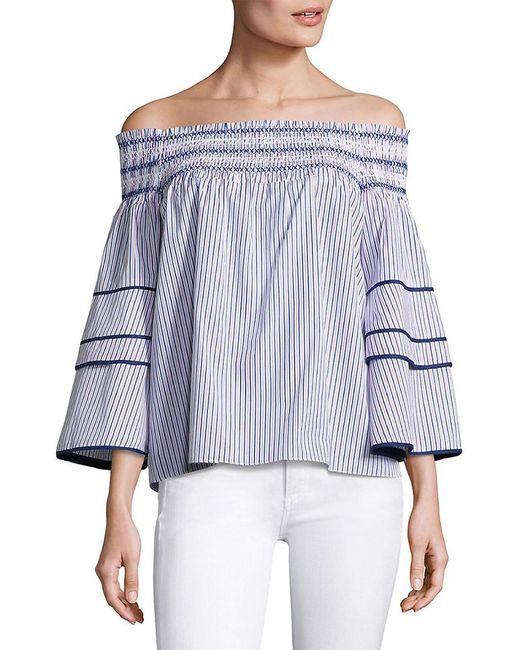 Parker Blue Striped Off-the-shoulder Cotton Blouse