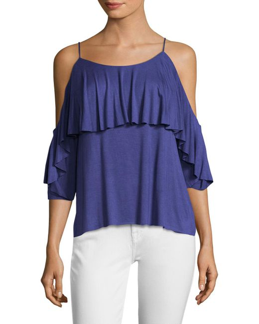 Bailey 44 - Blue Cold Shoulder Overlay Top - Lyst