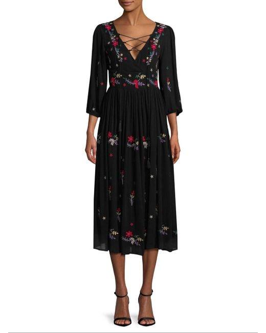 Raga - Black Sammy Embroidered Midi Dress - Lyst