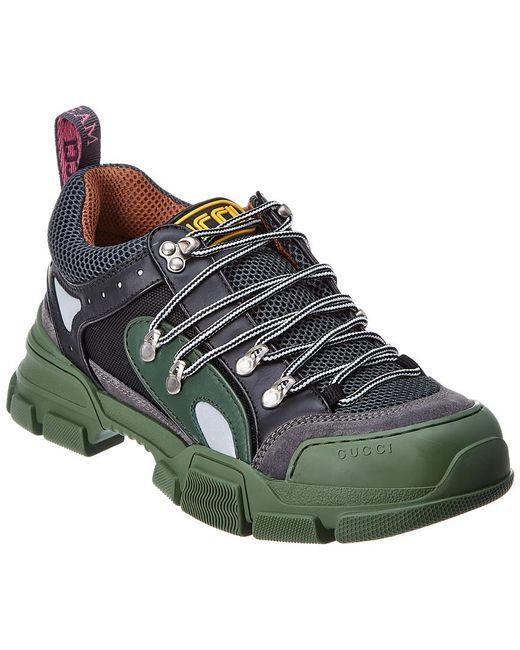 Gucci Green Flashtrek Leather & Mesh Sneaker for men