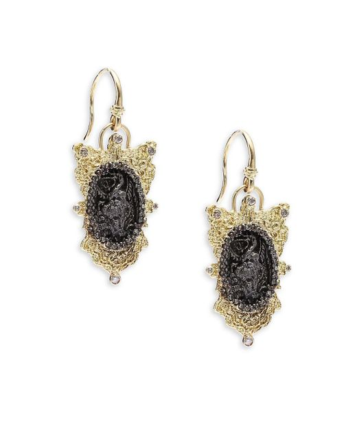 Armenta - Metallic Old World Champagne Diamond, 18k Yellow Gold & Sterling Silver Oval Coin Filigree Shield Earrings - Lyst