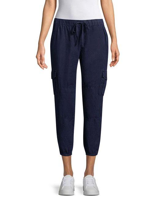 Joie Blue Solid Flap Pocket Pant