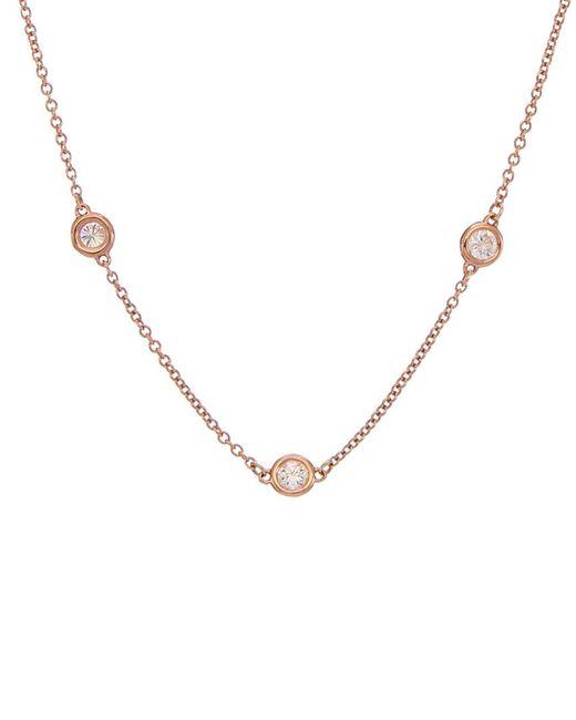 Diana M Metallic . Fine Jewelry 14k Rose Gold 0.70 Ct. Tw. Diamond Necklace