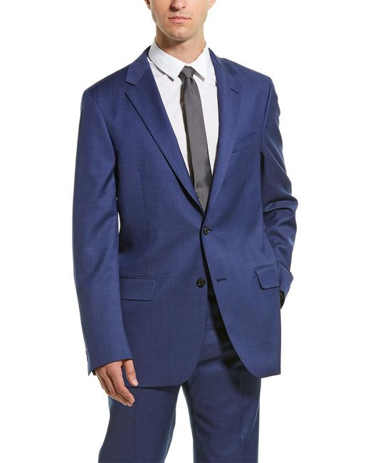 Hickey Freeman Blue 2pc Milburn Ii Wool Suit With Flat Pant for men