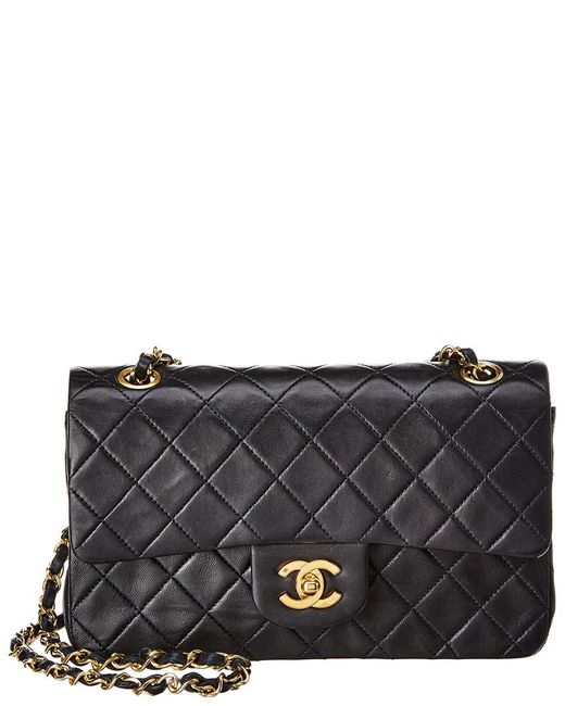 Chanel Multicolor Navy Quilted Lambskin Leather Small Double Flap Bag