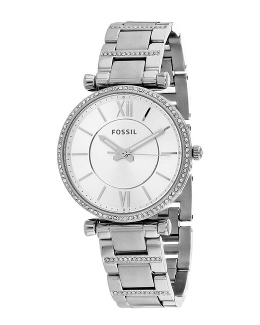 Fossil Metallic Carlie T-bar Crystal Bracelet Watch