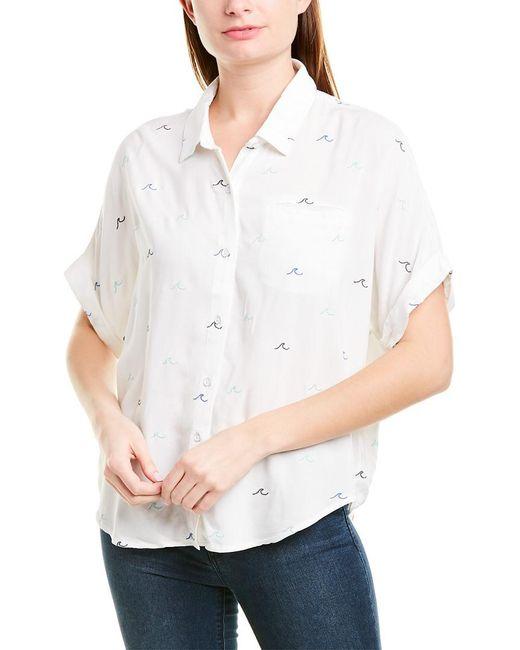Splendid White St. Bart's Stripe Linen-blend Shirt
