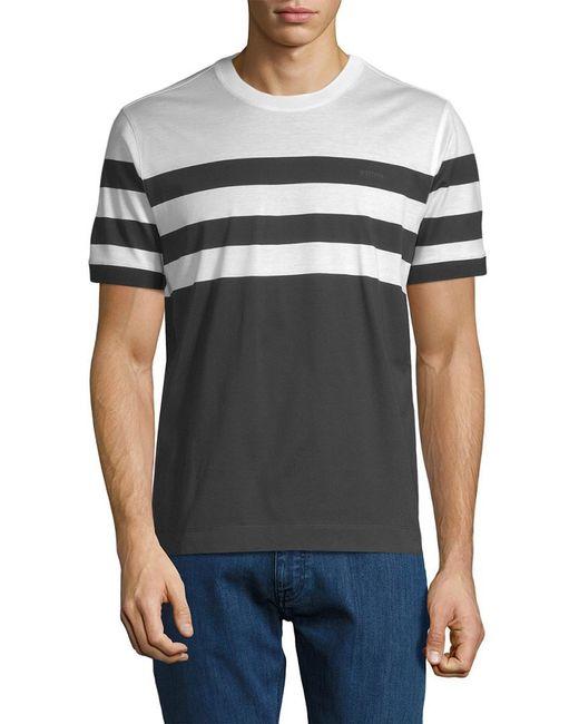 Ermenegildo Zegna - Gray Striped T-shirt for Men - Lyst