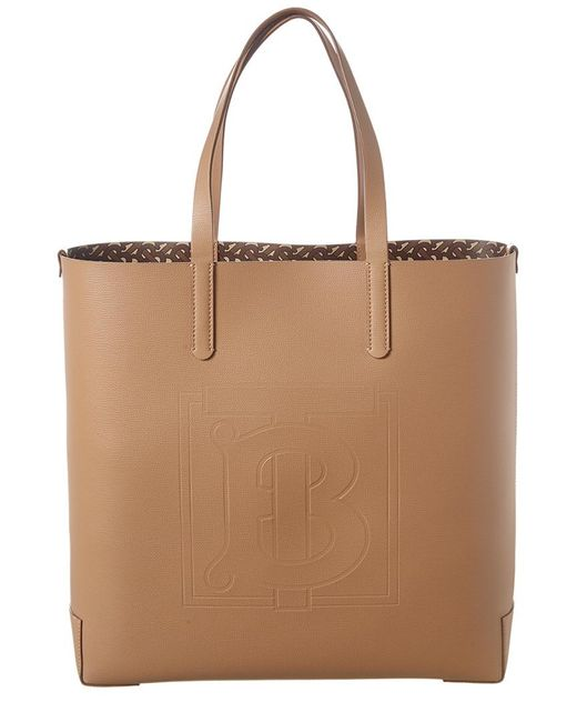 Burberry Brown Large Monogram Embossed Leather Tote