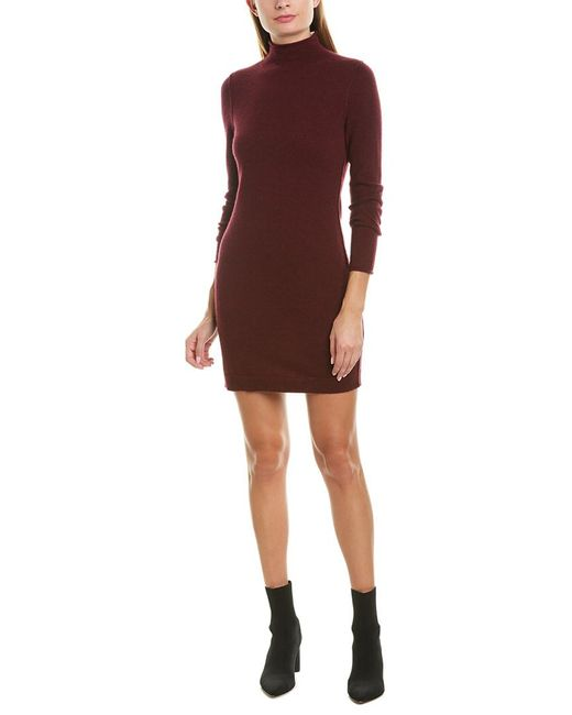 Qi Red Mock Neck Cashmere Sweaterdress