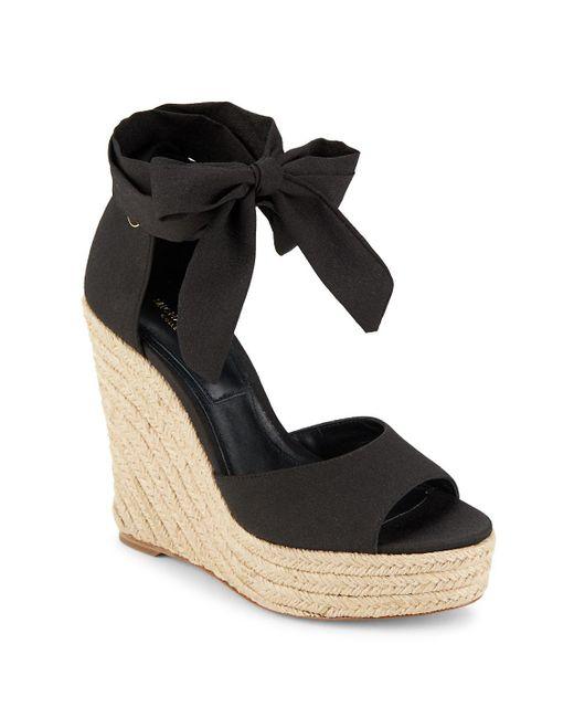 Michael Kors - Black Embry Ankle Wrap Wedge Sandals - Lyst