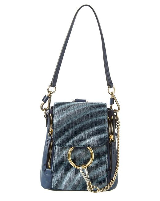 Chloé Blue Faye Small Leather Backpack