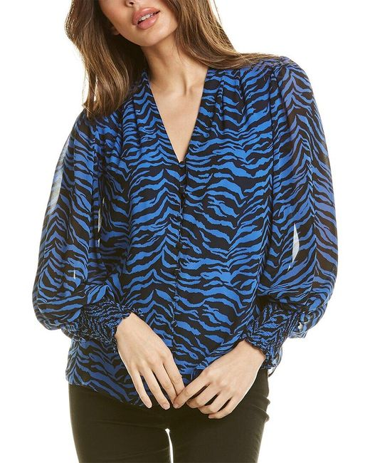 Vince Camuto Blue Animal Impressions Top