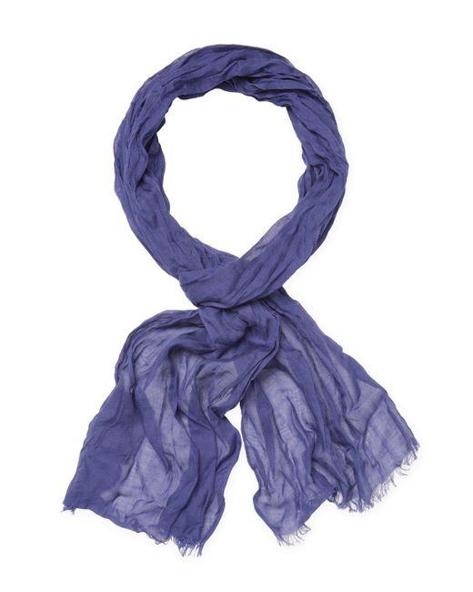 John Varvatos - Purple Solid Color Skinny Crinkle Gauze Scarf - Lyst