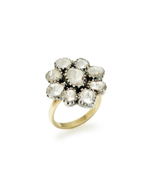 Amrapali - Metallic Diamond Floral Dome Ring - Lyst