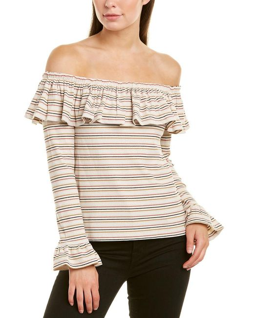 English Factory White Off-the-shoulder Top