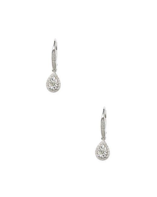 Rina Limor - Metallic 1/2 Ct Diamond Halo Teardrop Sterling Silver Earrings - Lyst