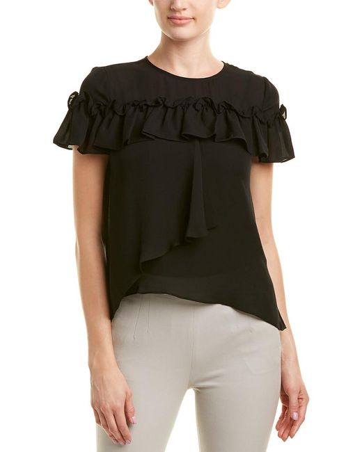 Nicole Miller Black Artelier Silk Top