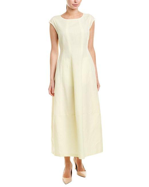 Lafayette 148 New York Yellow Jayden Linen-blend Maxi Dress