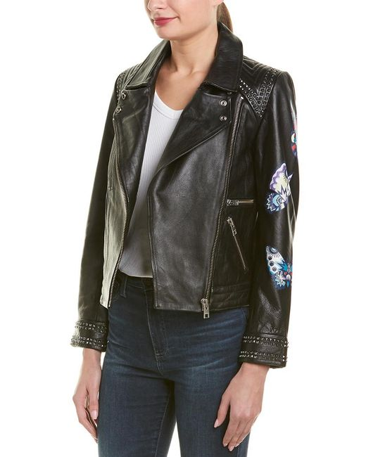 Zadig & Voltaire Black Kawai Paint Butterfly Leather Jacket
