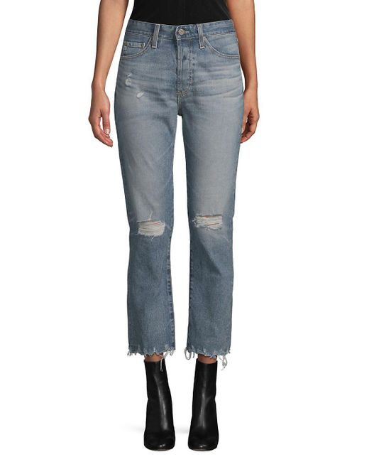 AG Jeans - Blue Distressed Straight-leg Cropped Jeans - Lyst