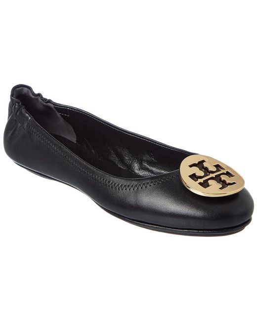 Tory Burch - Black Minnie Travel Leather Ballet Flat - Lyst