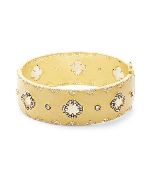 Freida Rothman - Metallic Crystal Big Signature Bangle Bracelet - Lyst