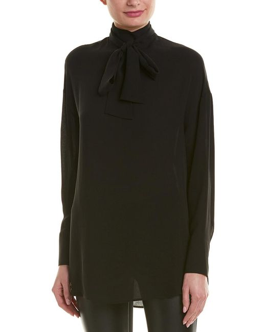 Valentino Black Mock Neck Silk Blouse