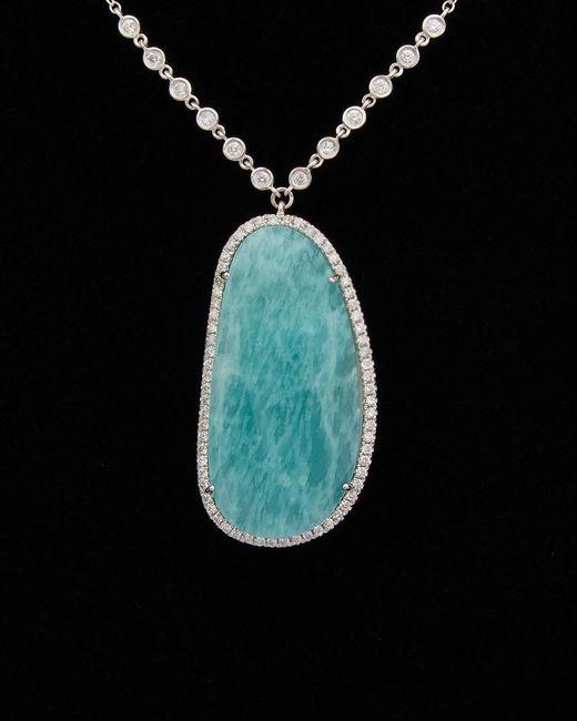 Meira T Black 14k 23.05 Ct. Tw. Diamond & Amazonite Necklace