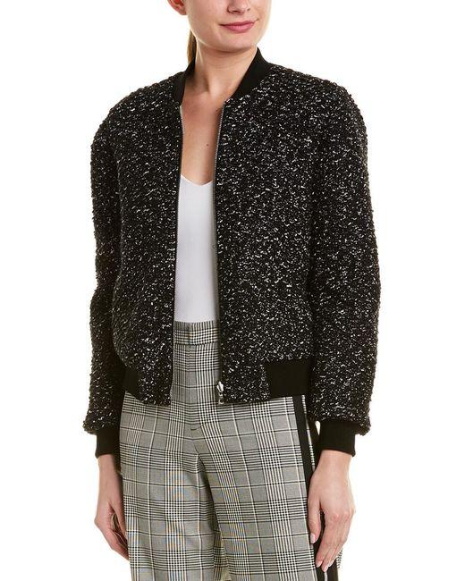 Alice + Olivia Black 'lonnie' Reversible Bouclé Knit Bomber Jacket
