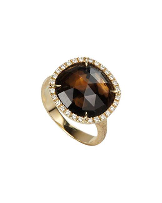 Marco Bicego Metallic Jaipur 18k 0.21 Ct. Tw. Diamond & Smokey Quartz Cocktail Ring