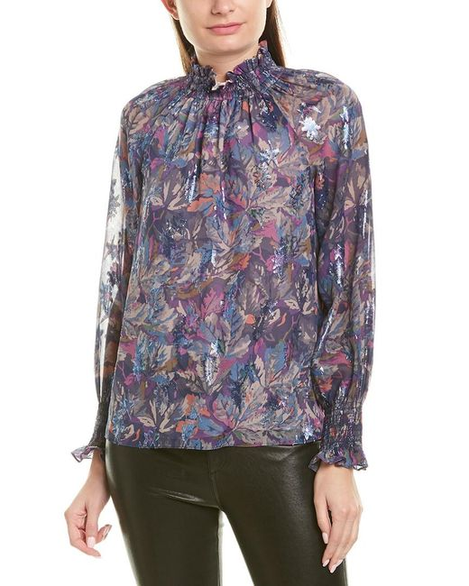 Rebecca Taylor Blue Floral Silk-blend Top