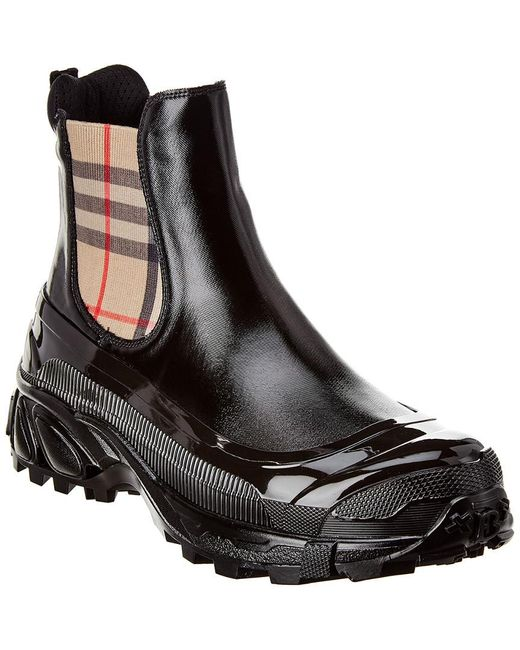 Burberry Black Vintage Check Detail Coated Canvas Chelsea Boots for men