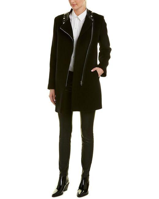 Sandro Black Embellished Leather-trim Wool-blend Coat