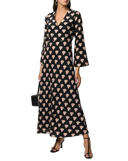 Rixo Black 3/4-sleeve Shell Silk Midi Dress