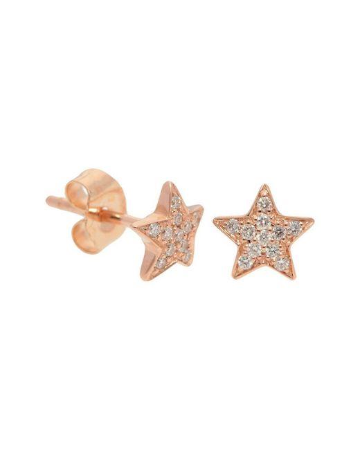 Nephora Pink 14k Rose Gold 0.11 Ct. Tw. Diamond Star Studs