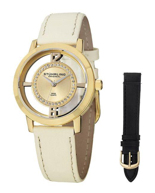 Stuhrling Original Metallic Stuhrling Women's Vogue Genuine Leather Interchangeable Strap Watch