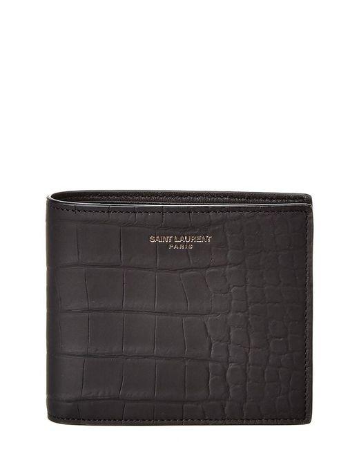 Saint Laurent Gray Leather Bifold Wallet for men