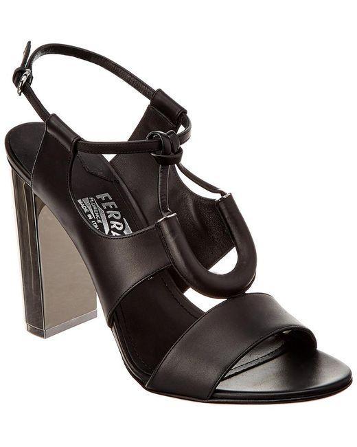 Ferragamo Black Galilea Leather Sandal