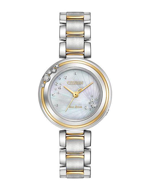 Citizen Metallic Women's Carina Diamond Accent Two-tone Stainless Steel Bracelet Watch 28mm Em0464-59d
